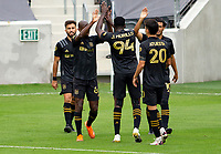 LOS ANGELES, CA - OCTOBER 25: Carlos Vela #10 and Bradley Wright-Phillips #66 celebrate a LAFC goal during a game between Los Angeles Galaxy and Los Angeles FC at Banc of California Stadium on October 25, 2020 in Los Angeles, California.