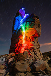 """Pictured:  A 11 minutes 18 seconds exposure at Steve's Tower, Page, AZ<br /> <br /> Bright bolts of colourful light snake their way across mountains and cliffs.  The striking images were created by a rock climber who wrapped LED lights around his body before capturing long exposure shots of his route.<br /> <br /> Luke Rasmussen took the photos in the deserts of Nevada, in the United States, and admits that his method of 'freezing time in a moment' is unusual.  The 28 year old photographer said: """"Wearing a sweater full of lights and climbing through the darkness of night is certainly a different experience than most climbers will get.  SEE OUR COPY FOR DETAILS.<br /> <br /> Please byline: Luke Rasmussen/Solent News<br /> <br /> © Luke Rasmussen/Solent News & Photo Agency<br /> UK +44 (0) 2380 458800"""