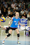 Rüsselsheim, Germany, April 13: Tanja Grosser #4 of the VC Wiesbaden looks on during play off Game 1 in the best of three series in the semifinal of the DVL (Deutsche Volleyball-Bundesliga Damen) season 2013/2014 between the VC Wiesbaden and the Rote Raben Vilsbiburg on April 13, 2014 at Grosssporthalle in Rüsselsheim, Germany. Final score 0:3 (Photo by Dirk Markgraf / www.265-images.com) *** Local caption ***