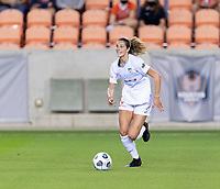 HOUSTON, TX - APRIL 09: Kayla Sharples #28 of the Chicago Red Stars brings the ball up the field during a game between Chicago Red Stars and Houston Dash at BBVA Stadium on April 09, 2021 in Houston, Texas.