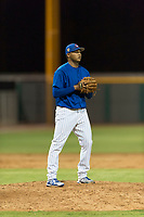AZL Cubs 1 relief pitcher Riger Fernandez (47) checks the runner at first base during an Arizona League game against the AZL Padres 1 at Sloan Park on July 5, 2018 in Mesa, Arizona. The AZL Cubs 1 defeated the AZL Padres 1 3-1. (Zachary Lucy/Four Seam Images)