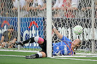 Western New York Flash goalkeeper Ashlyn Harris (24) ends up in the net after failing to stop a shop during the penalty kick shoot out. The Western New York Flash defeated the Philadelphia Independence 5-4 in a penalty kick shootout after playing to a 1-1 tie during the Women's Professional Soccer (WPS) Championship presented by Citi at Sahlen's Stadium in Rochester NY, on August 27, 2011.