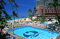 View overlooking pool at Outrigger main hotel on Waikiki beach
