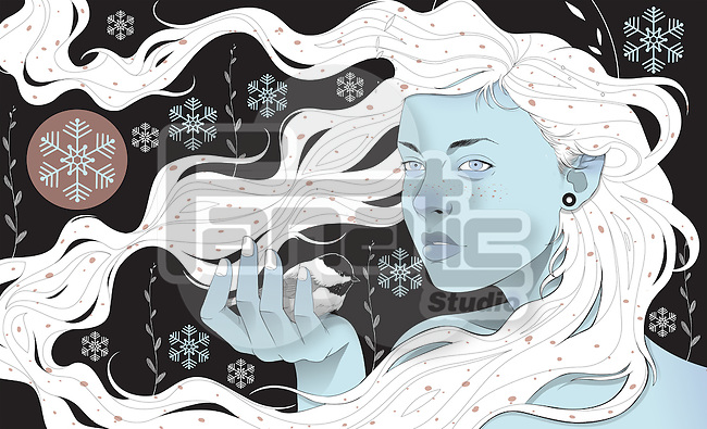 Illustrative image of beautiful young woman holding Chickadee in snow