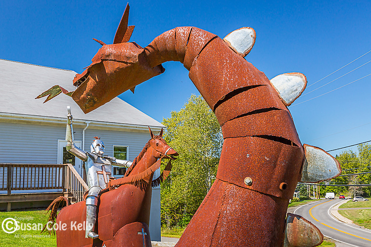 Metal sculpture of St George and the Dragon in St George, Maine, USA