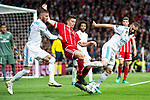 Real Madrid Sergio Ramos and Karim Benzema and Bayern Munich Thomas Muller during Semi Finals UEFA Champions League match between Real Madrid and Bayern Munich at Santiago Bernabeu Stadium in Madrid, Spain. May 01, 2018. (ALTERPHOTOS/Borja B.Hojas)
