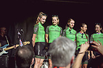 Waowdeals Pro Cycling Team at the Team presentation of La Fleche Wallonne Femmes 2018 running 118.5km from Huy to Huy, Belgium. 17/04/2018.<br /> Picture: ASO/Thomas Maheux | Cyclefile.<br /> <br /> All photos usage must carry mandatory copyright credit (© Cyclefile | ASO/Thomas Maheux)