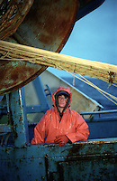 Crewman Tiffany Scarlatos works on the F/V Progress, a dragger, in the Bering Sea on February 1, 1996.  They are fishing for pollock.