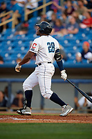Lake County Captains first baseman Emmanuel Tapia (28) follows through on a swing during the first game of a doubleheader against the West Michigan Whitecaps on August 6, 2017 at Classic Park in Eastlake, Ohio.  Lake County defeated West Michigan 4-0.  (Mike Janes/Four Seam Images)