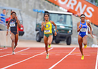 May 25, 2013: LaQuisha Jackson of San Diego State #1026, English Gardner of Oregon #922 and Paris Daniels of Kansas #1695 compete in 200 meters dash quarterfinal of NCAA Outdoor Track & Field Championships West Preliminary at Mike A. Myers Stadium in Austin, TX.