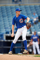 Pitcher Easton McGee (40) of Hopkinsville High School in Hopkinsville, Kentucky playing for the Chicago Cubs scout team during the East Coast Pro Showcase on July 28, 2015 at George M. Steinbrenner Field in Tampa, Florida.  (Mike Janes/Four Seam Images)