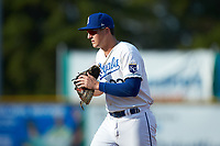 Burlington Royals first baseman Vinnie Pasquantino (33) on defense against the Danville Braves at Burlington Athletic Stadium on July 13, 2019 in Burlington, North Carolina. The Royals defeated the Braves 5-2. (Brian Westerholt/Four Seam Images)