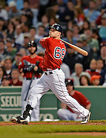 8 June 2012: Boston Red Sox outfielder Daniel Nava in action against the Washington Nationals at Fenway Park in Boston, MA. The Nationals defeated the Red Sox 7-4 in the opening game of their 3-game series. Mandatory Credit: Ed Wolfstein Photo