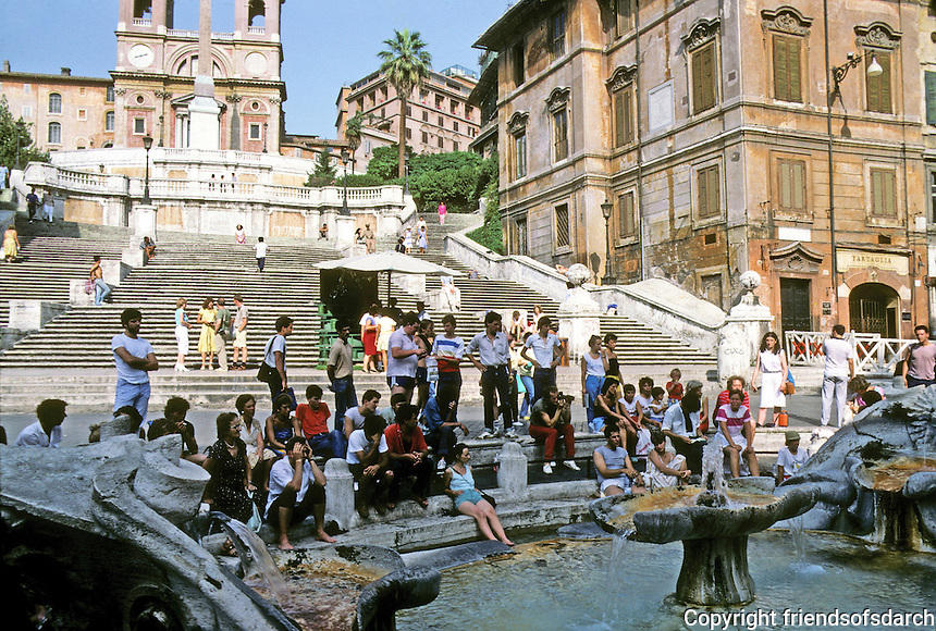 Italy: Rome--Looking up Spanish Steps from Piazza De Spagna. Popular gathering place. Photo '82.