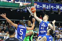 Markel Starks (Fraport Skyliners), Niklas Kiel (Fraport Skyliners) und Mahir Agva (Fraport Skyliners) verteidigen gegen Gregory Echenique (Guaros de Lara) - Fraport Skyliners vs. Guaros de Lara, Fraport Arena Frankfurt, FIBA Intercontinental Cup 2016