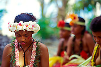 Young women practicing traditional crafts, Yap, Micronesia. No Releases.