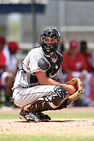 GCL Marlins catcher Blake Anderson (26) looks to the dugout during a game against the GCL Nationals on June 28, 2014 at the Carl Barger Training Complex in Viera, Florida.  GCL Nationals defeated the GCL Marlins 5-0.  (Mike Janes/Four Seam Images)