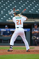 Hunter Tackett (21) of the Miami Hurricanes at bat against the Georgia Tech Yellow Jackets during game one of the 2017 ACC Baseball Championship at Louisville Slugger Field on May 23, 2017 in Louisville, Kentucky. The Hurricanes walked-off the Yellow Jackets 6-5 in 13 innings. (Brian Westerholt/Four Seam Images)