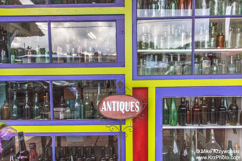 Antique bottles displayed at Glass From the Past Antique Store in Honomu, Big Island, Hawaii