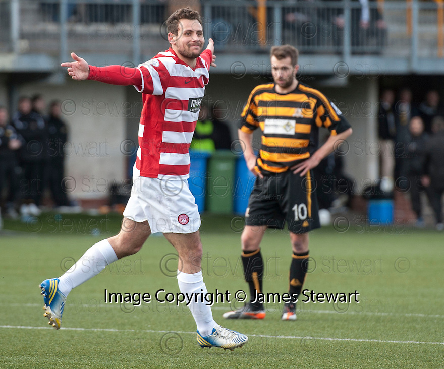 Hamilton's Anthony Andreu celebrates after he scores their third goal.
