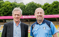 Wycombe Wanderers Trust Chairman Trevor Stroud (right) during the Open Training Session in front of supporters during the Wycombe Wanderers 2016/17 Team & Individual Squad Photos at Adams Park, High Wycombe, England on 1 August 2016. Photo by Jeremy Nako.