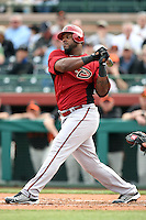 Wily Mo Pena #16 of the Arizona Diamondbacks bats against the San Francisco Giants in the first spring training game of the season at Scottsdale Stadium on February 25, 2011  in Scottsdale, Arizona. .Photo by:  Bill Mitchell/Four Seam Images.