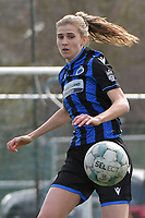 Marie Minnaert (13) of Club Brugge  pictured during a female soccer game between Club Brugge Dames YLA and Oud Heverlee Leuven on the first matchday in Play-Off 1 of the 2020 - 2021 season of Belgian Scooore Womens Super League , saturday 3 th April 2021  in Brugge , Belgium . PHOTO SPORTPIX.BE | SPP | DIRK VUYLSTEKE