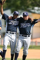 March 19th 2008:  Richard De Los Santos and Chris Mason of the Tampa Bay Devil Rays minor league system during Spring Training at the Raymond A. Naimoli Complex in St. Petersburg, FL.  Photo by:  Mike Janes/Four Seam Images