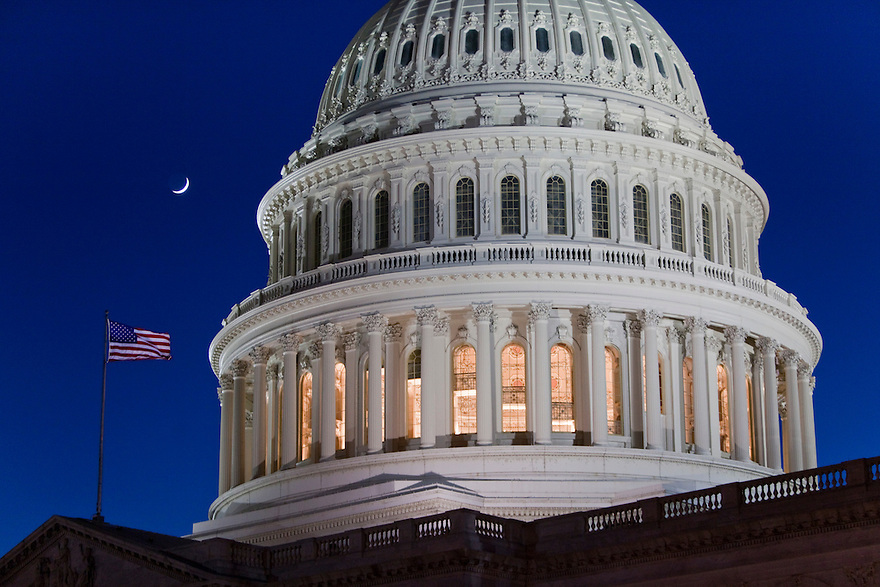 A crescent moon rises over the United States Capitol.   The Capitol is the meeting place of the United States Congress, and the legislature of the Federal government of the United States.  Located in Washington, D.C., it sits atop Capitol Hill at the eastern end of the National Mall.