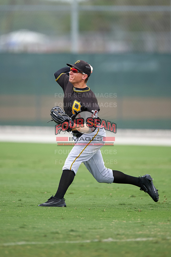 Pittsburgh Pirates Ty Moore (80) during a minor league Spring Training game against the Toronto Blue Jays on March 24, 2016 at Pirate City in Bradenton, Florida.  (Mike Janes/Four Seam Images)
