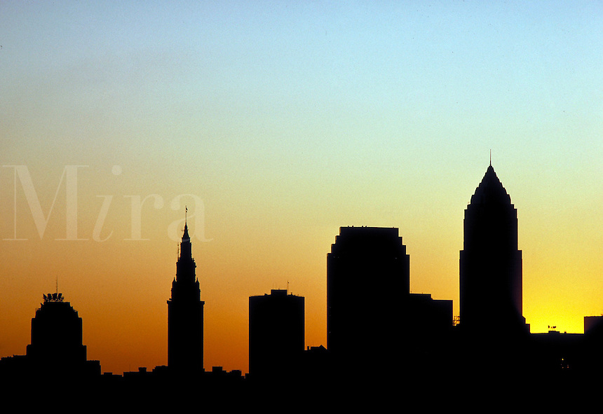 A silhouette of the Cleveland, Ohio skyline at sunset. Cleveland Ohio USA.
