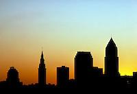 A silhouette of the Cleveland, Ohio skyline at sunset. Cleveland Ohio USA.