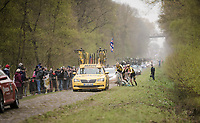 Wout Van Aert (BEL/Jumbo-Visma) flattens at the worst possible place in the famous inArenberg Forest / Bois de Wallers and takes a bike from his teammate to be able to continue the race...<br /> <br /> 117th Paris-Roubaix 2019 (1.UWT)<br /> One day race from Compiègne to Roubaix (FRA/257km)<br /> <br /> ©kramon