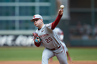 Oklahoma Sooners starting pitcher Levi Prater (25) delivers a pitch to the plate against the Missouri Tigers in game four of the 2020 Shriners Hospitals for Children College Classic at Minute Maid Park on February 29, 2020 in Houston, Texas. The Tigers defeated the Sooners 8-7. (Brian Westerholt/Four Seam Images)