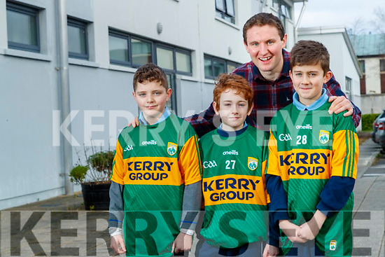 Mark Foley, Dara Mahony and Micheal O'Mahony pupils at Saint Johns School in Kenmare with Kerry footballer Tadhg Morley who is a teacher in the school.