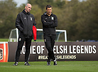 Pictured: (L-R) Team psychologist Ian Mitchell with Ryland Morgans. Monday 02 October 2017<br /> Re: Wales football training, ahead of their FIFA Word Cup 2018 qualifier against Georgia, Vale Resort, near Cardiff, Wales, UK.