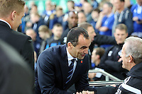 Liverpool, UK. Saturday 01 November 2014<br /> Pictured: Everton manager Roberto Martinez greets Alan Curtis of Swansea.<br /> Re: Premier League Everton v Swansea City FC at Goodison Park, Liverpool, Merseyside, UK.