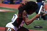 13 JUNE 2015: Jennifer Madu of Texas A&M gets out of the blocks for the start of the Women's 4X100 meter relay during the Division I Men's and Women's Outdoor Track & Field Championship held at Hayward Field in Eugene, OR. Steve Dykes/ NCAA Photos