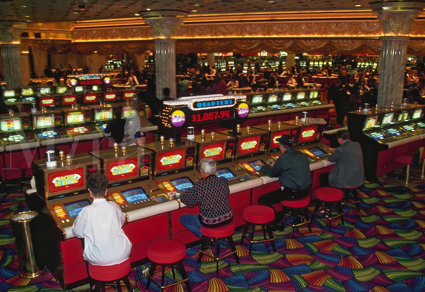 People gambling inside a casino. Las Vegas, Nevada.