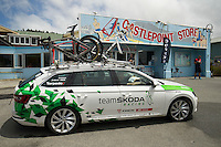 A Team Skoda car sits outside the Castlepoint Store during the NZ Cycle Classic stage one of the UCI Oceania Tour in Wairarapa, New Zealand on Sunday, 22 January 2017. Photo: Hagen Hopkins / lintottphoto.co.nz