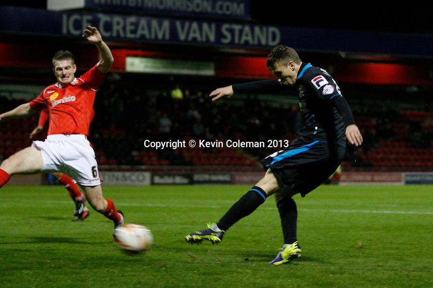 Luke Freeman of Stevenage scores their second goal past Adam Dugdale of Crewe<br />  - Crewe Alexandra v Stevenage - Sky Bet League One - Alexandra Stadium, Gresty Road, Crewe - 22nd October 2013. <br /> © Kevin Coleman 2013