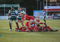 Will Homer of Jersey Reds during the Greene King IPA Championship match between Ealing Trailfinders and Jersey at Castle Bar, West Ealing, England  on 19 October 2019. Photo by Alan Stanford / PRiME Media Images