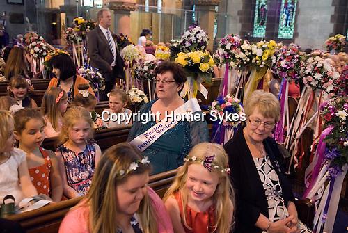 Neston Female Friendly Society Annual Club Walking Day. Neston Cheshire UK 2015. Prior to church service.