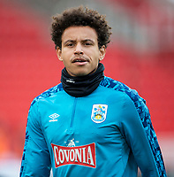 21st November 2020; Bet365 Stadium, Stoke, Staffordshire, England; English Football League Championship Football, Stoke City versus Huddersfield Town; Rarmani Edmonds-Green of Huddersfield Town during the warm up