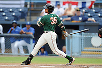 Greensboro Grasshoppers designated hitter Viosergy Rosa #35 swings at a pitch during game one of a double header against the Asheville Tourists on July 2, 2013 in Asheville, North Carolina.  The Tourists won the game 5-3. (Tony Farlow/Four Seam Images)
