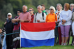 ISPS Handa Wales Open Golf final day at the Celtic Manor Resort in Newport, UK. :  Golf fans watching proceedings at the end of play.