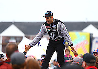 Aug 17, 2014; Brainerd, MN, USA; NHRA top fuel dragster driver Larry Dixon during the Lucas Oil Nationals at Brainerd International Raceway. Mandatory Credit: Mark J. Rebilas-