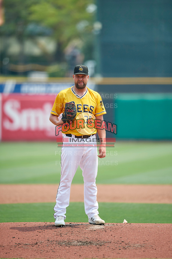Salt Lake Bees starting pitcher Brian Johnson (35) during the game against the Las Vegas Aviators at Smith's Ballpark on July 25, 2021 in Salt Lake City, Utah. The Aviators defeated the Bees 10-6. (Stephen Smith/Four Seam Images)