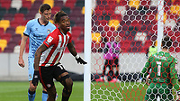 Ivan Toney scores Brentford's second goal and turns away to celebrate during Brentford vs Coventry City, Sky Bet EFL Championship Football at the Brentford Community Stadium on 17th October 2020