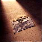 Envelope of money on marble background